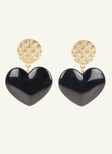 Loves You Kalp Küpe Siyah
